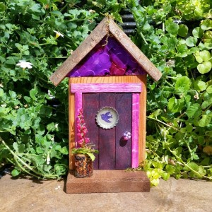 Purple Peace Dove Garden Fairy Door - GardenFairies.ca